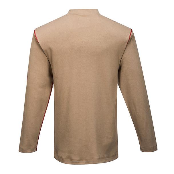 PortWest FR Moisture Wicking Bizflame Henley FR02 Khaki Back