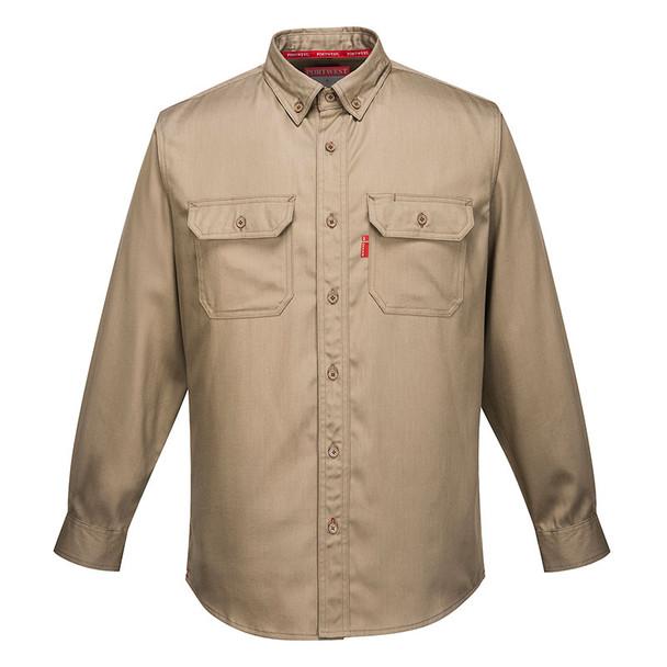 PortWest FR Bizflame Shirt FR89 Khaki Front
