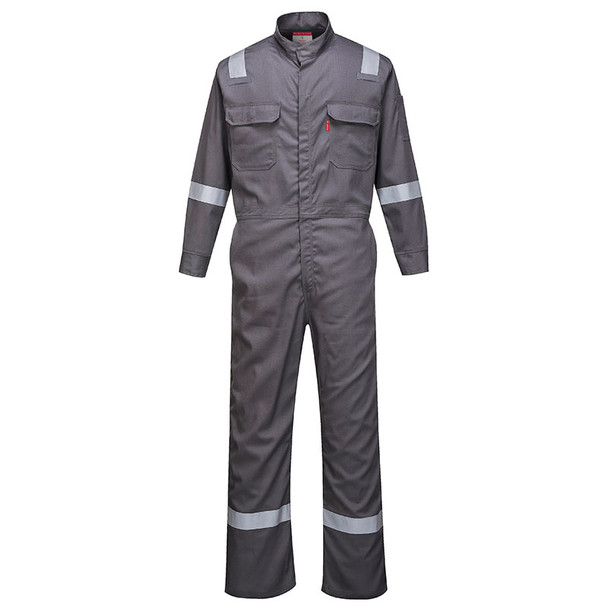 PortWest FR Bizflame Iona Unlined Coverall FR94 Grey Front