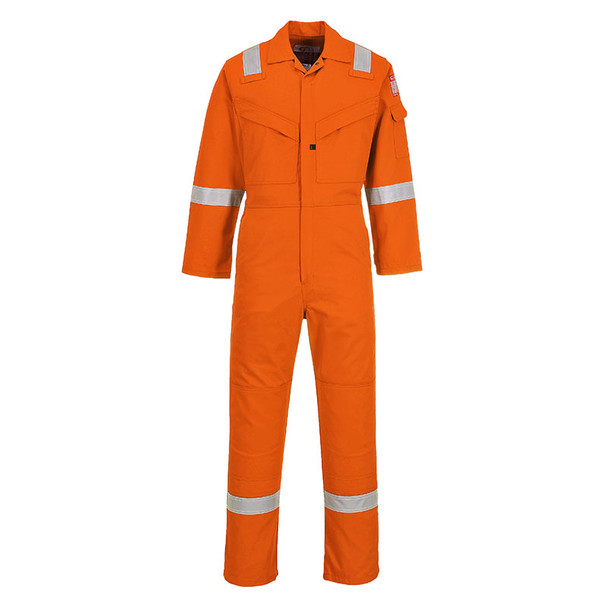 PortWest FR Non-ANSI Hi Vis Orange Super Light Weight Anti-Static Coverall UFR21OR