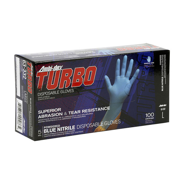 PIP Case of 1000 Ambi-dex 5 Mil Turbo Disposable Nitrile Powdered Blue Gloves 63-332 Box