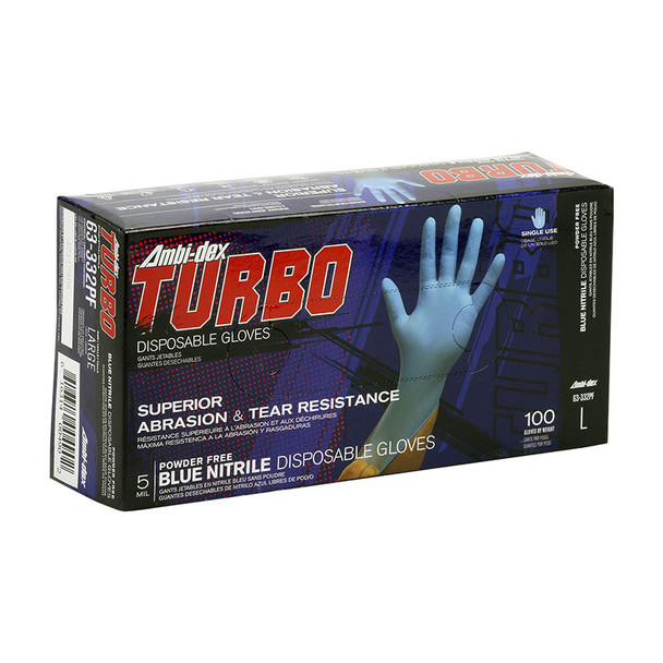PIP Case of 1000 Ambi-dex 5 Mil Turbo Disposable Nitrile Powder Free Blue Gloves 63-332PF Box