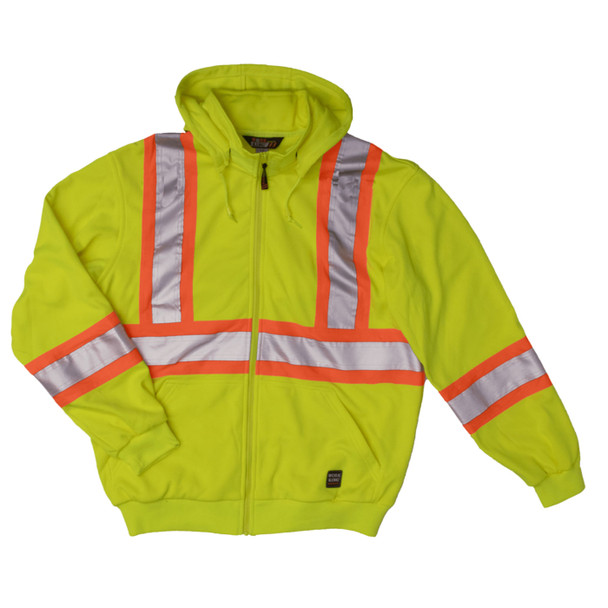 Work King Safety Class 2 Hi Vis X-Back Fluorescent Green Zip-Up Fleece Hoodie S494FLGR Front