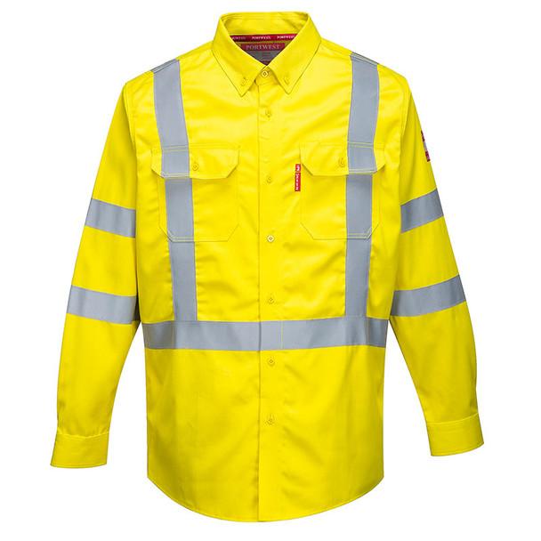 PortWest FR Class 3 Hi Vis Yellow Long Sleeve Shirt FR95YE Front