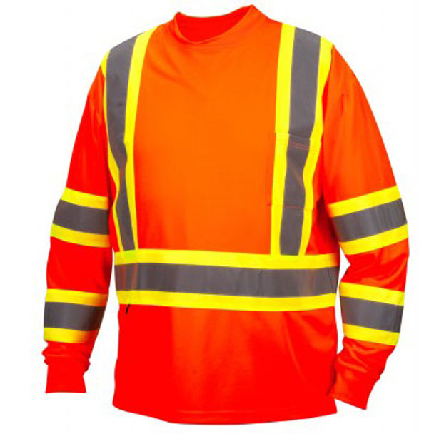 Pyramex Class 3 X-Back Hi Vis Two-Tone Orange Moisture Wicking Long Sleeve T-Shirt RCLTS3120 Front
