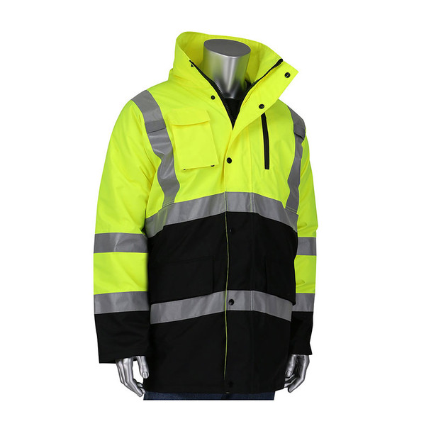 PIP Class 3 Hi Vis Black Bottom Coat with Quilted Insulation 343-1750 Yellow/Front