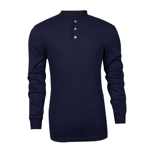 TECGEN FR Select Moisture Wicking Navy Blue Made in USA Henley C541NNBBSLS