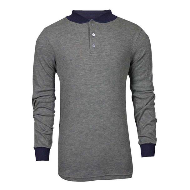TECGEN FR Select Moisture Wicking Grey Made in USA Henley C541NGEBSLS