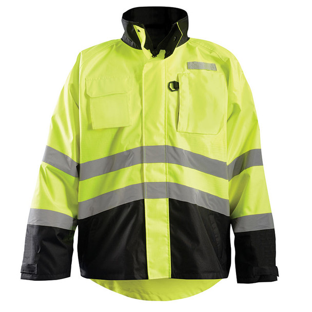 Occunomix Class 3 Hi Vis Yellow 2-in-1 Black Bottom Rip Stop Bomber Jacket with Fleece Lining LUX-RSDJKT Front