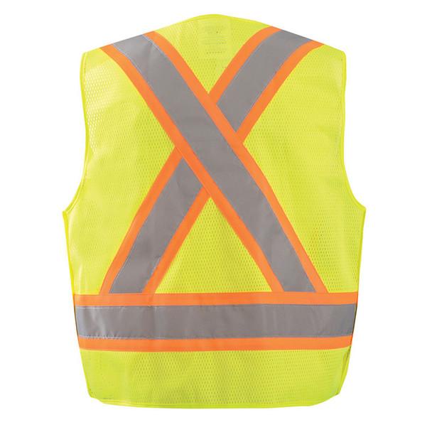 Occunomix Class 2 Hi Vis X-Back Two-Tone 5-Point Breakaway Mesh Vest ECO-IMB2TX Yellow Back