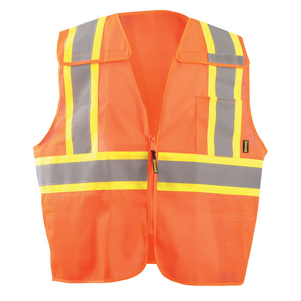 Occunomix Class 2 Hi Vis X-Back Two-Tone 5-Point Breakaway Mesh Vest ECO-IMB2TX Orange Back