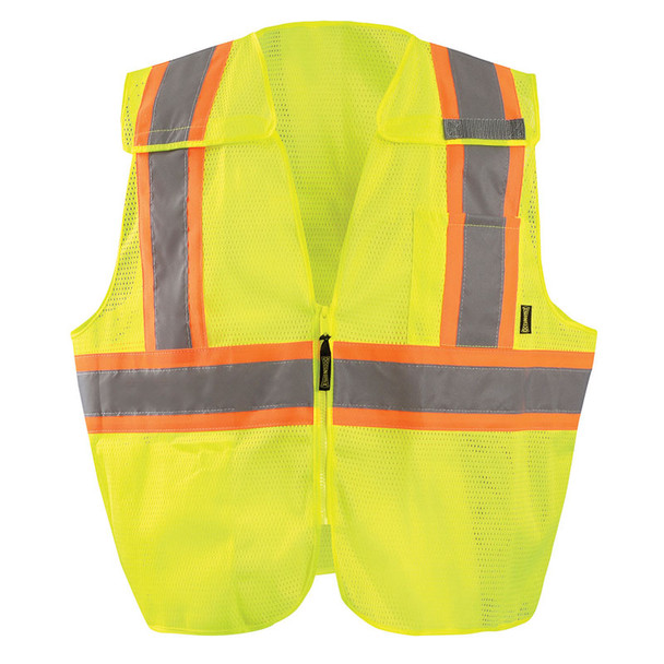 Occunomix Class 2 Hi Vis X-Back Two-Tone 5-Point Breakaway Mesh Vest ECO-IMB2TX Yellow Front