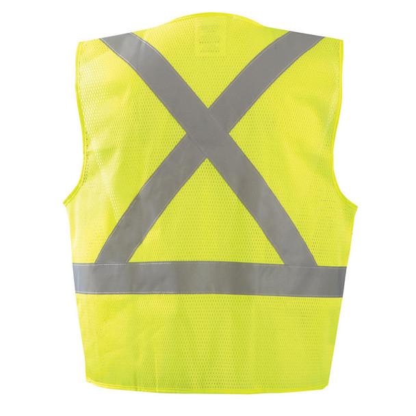 Occunomix Class 2 Hi Vis X-Back Vest with Zipper ECO-IMZX Yellow Back