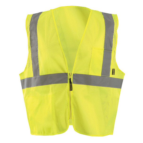Occunomix Class 2 Hi Vis X-Back Vest with Zipper ECO-IMZX Yellow Front