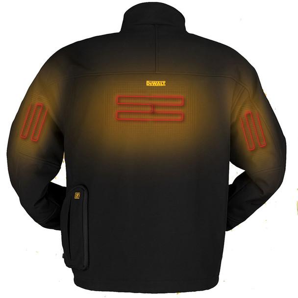 DeWALT Heated Soft Shell Black Work Jacket with Adapter DCHJ060ABB Heated Back