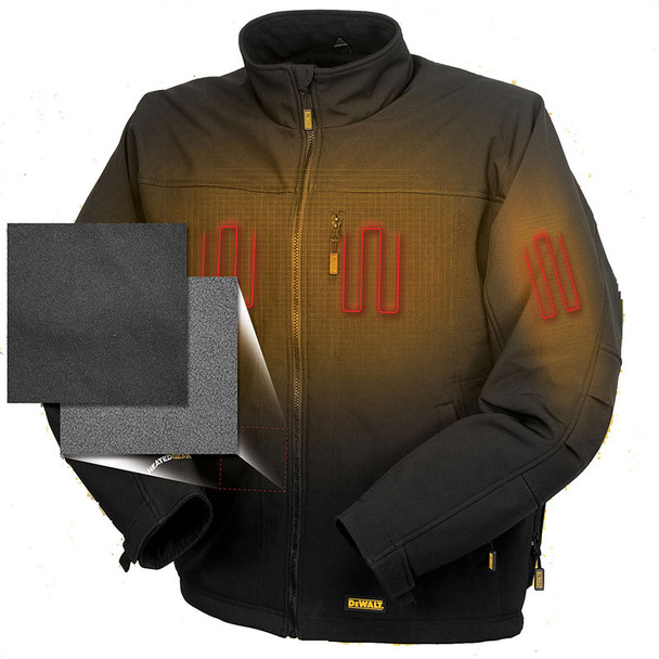 DeWALT Heated Soft Shell Black Work Jacket with Adapter DCHJ060ABB Heated Front