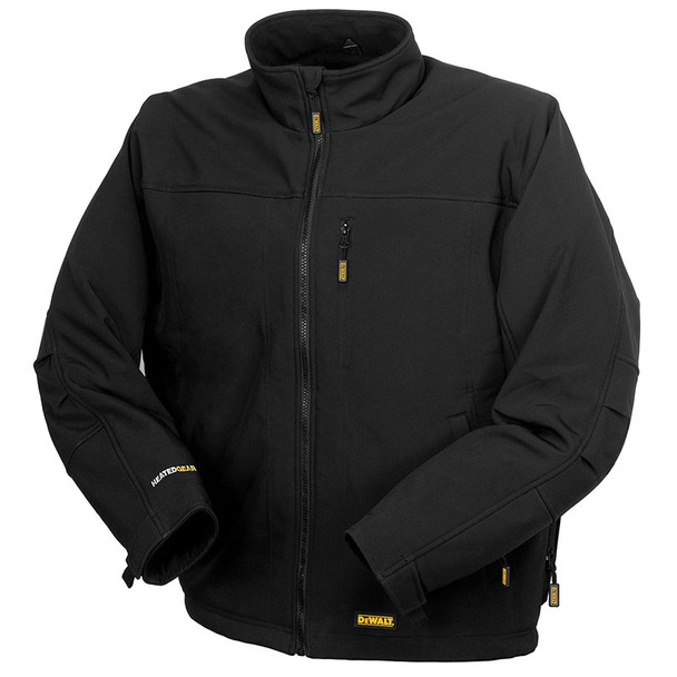 DeWALT Heated Soft Shell Black Work Jacket with Adapter DCHJ060ABB Front