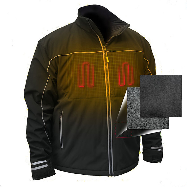 DeWALT Heated Lightweight Soft Shell Black Work Jacket with Adapter DCHJ072B Heated Front