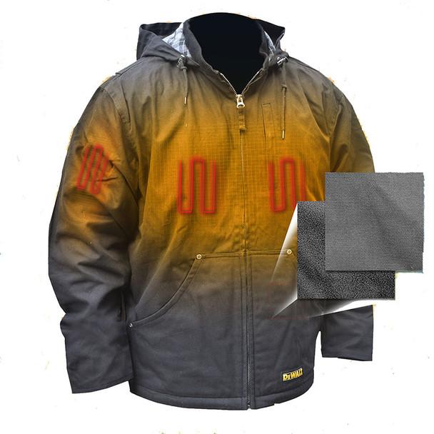 DeWALT Heated Heavy Duty Black Work Jacket with Adapter DCHJ076ABB Heated Front