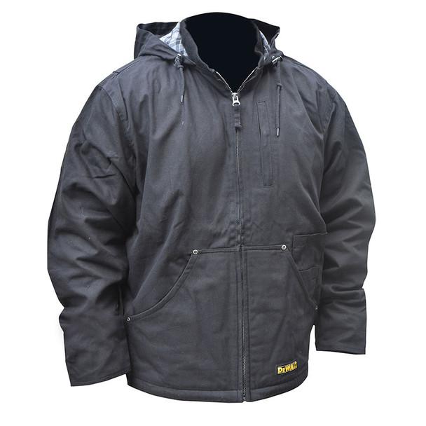 DeWALT Heated Heavy Duty Black Work Jacket with Adapter DCHJ076ABB Front
