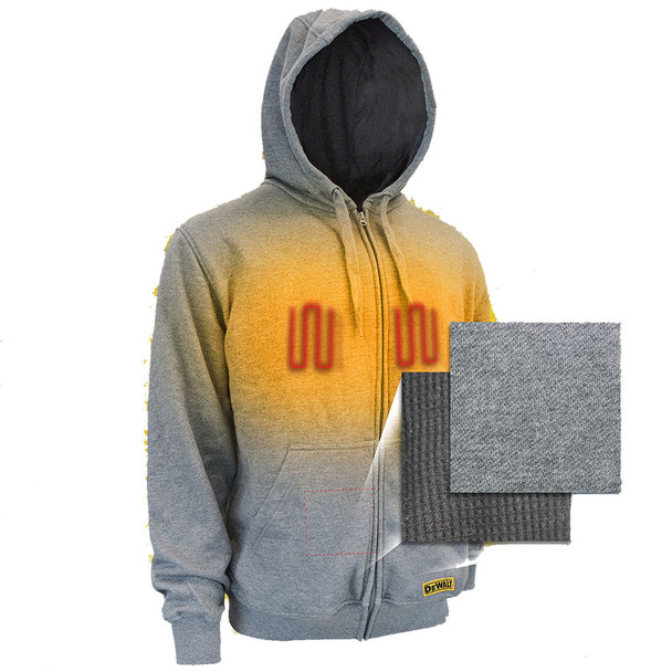 DeWALT Heated French Terry Hoodie with Adapter DCHJ080B Heated Front