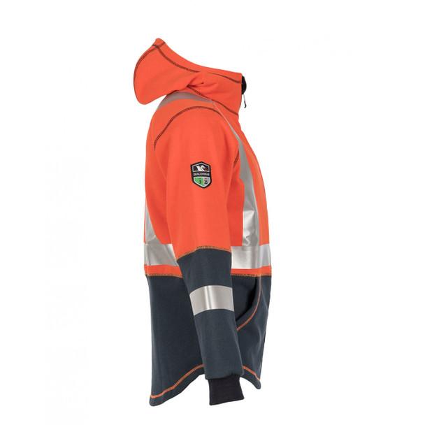 DragonWear FR Non-ANSI Hi Vis Orange Navy Bottom X-Back Elements Lightning Jacket DFML135 Side