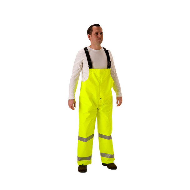 NASCO FR Class E Hi Vis Yellow ArcLite Air Made in USA Bib Overalls 1701TFY Front
