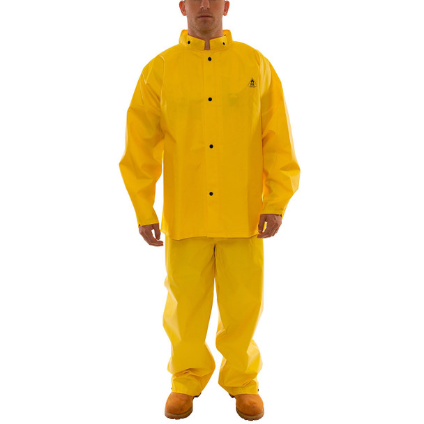 Tingley ASTM D6413 Industrial Yellow DuraScrim 3-Piece Rain Suit S56307 Collar Buttoned