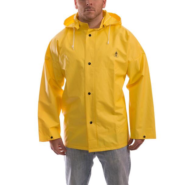 Tingley ASTM D6413 Industrial Yellow DuraScrim Hooded Rain Jacket J56107 Front