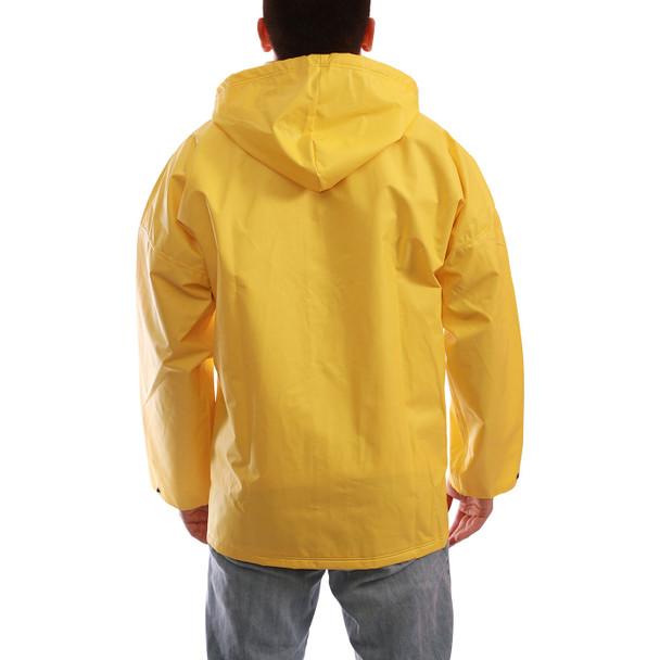 Tingley ASTM D6413 Industrial Yellow DuraScrim Hooded Rain Jacket J56107 Back