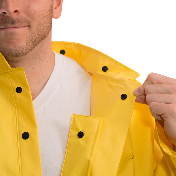 Tingley ASTM D6413 Industrial Yellow DuraScrim Hooded Rain Jacket J56107 Collar