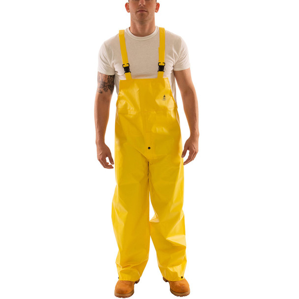 Tingley ASTM D6413 Industrial Yellow DuraScrim Rain Overalls with Fly Front O56107 Front