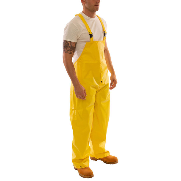 Tingley ASTM D6413 Industrial Yellow DuraScrim Rain Overalls with Fly Front O56107 Side