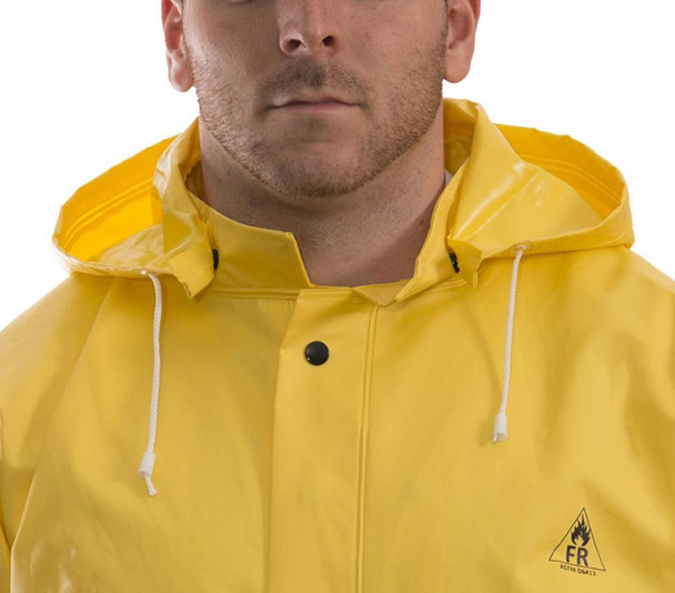 Tingley ASTM D6413 Industrial Yellow DuraScrim Detachable Rain Hood H56107 Front