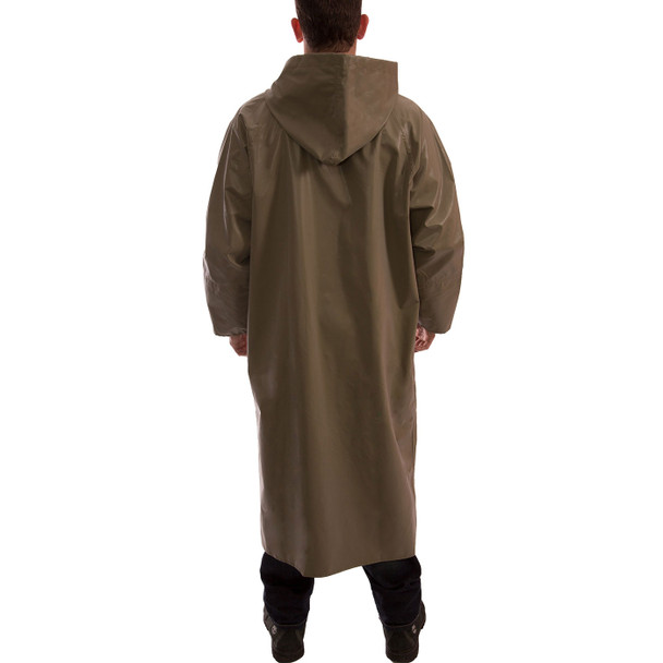 Tingley ASTM D6413 Industrial Olive Drab Magnaprene Chem Splash Full Length Coat C12168 Back