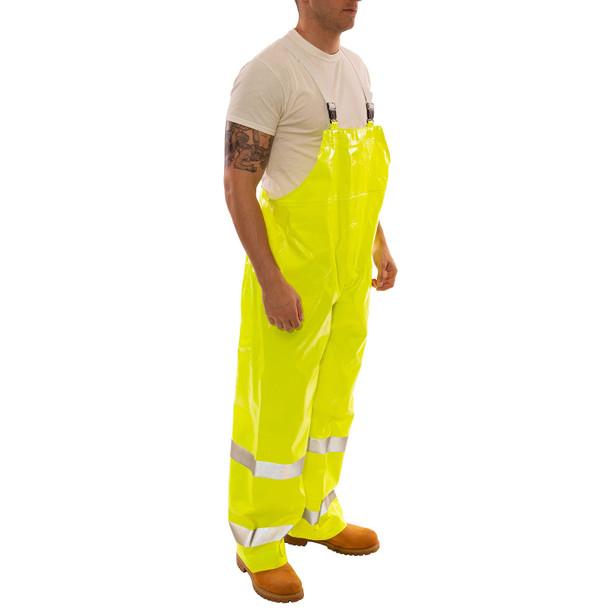 Tingley Class E Hi Vis Yellow Comfort-Brite Rain Overalls O53122 Side