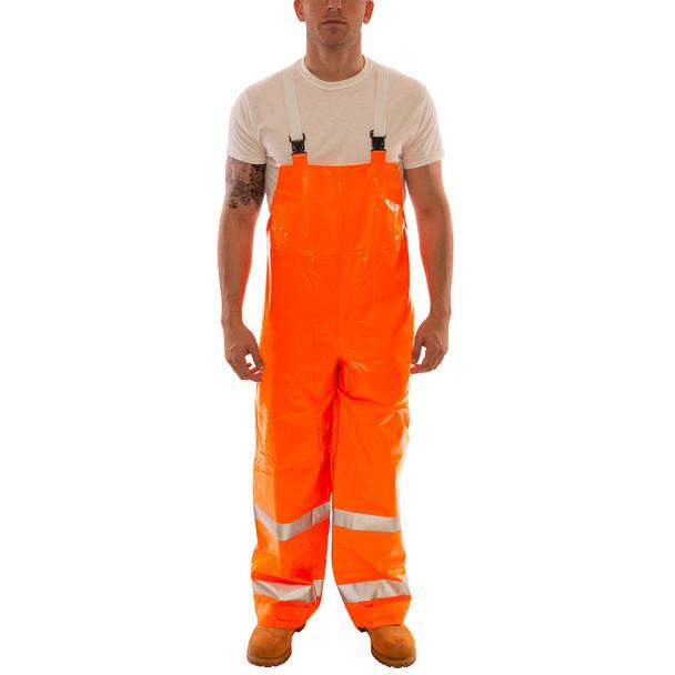 Tingley Class E Hi Vis Orange Comfort-Brite Rain Overalls O53129 Front