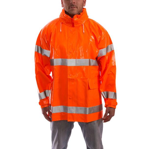 Tingley Class 3 Hi Vis Orange Comfort-Brite Rain Jacket J53129 Front