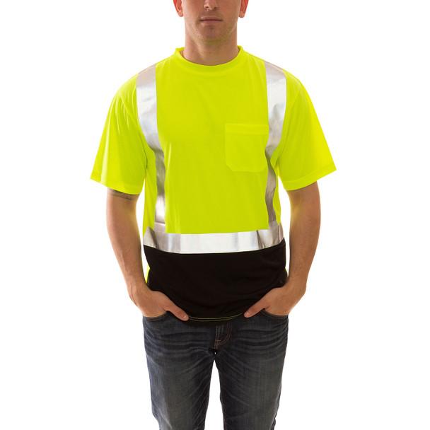 Tingley Class 2 Hi Vis Yellow Black Bottom Moisture Wicking Job Sight T-Shirt S75122 Front
