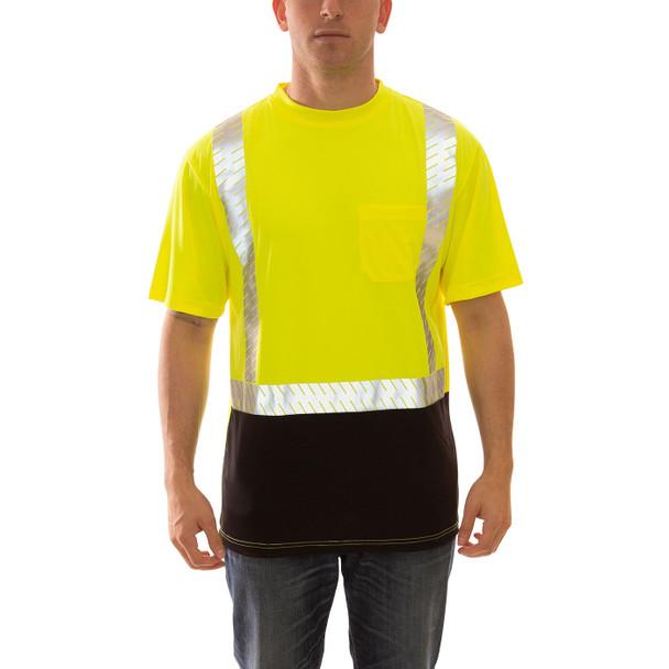 Tingley Class 2 Hi Vis Yellow Black Bottom Job Sight T-Shirt with Segmented Tape S74122 Front