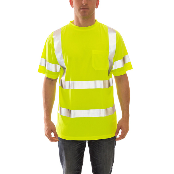 Tingley Class 3 Hi Vis Yellow Moisture Wicking Job Sight T-Shirt S75322 Front