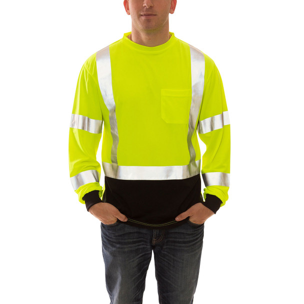 Tingley Class 3 Hi Vis Yellow Black Bottom Moisture Wicking Job Sight Long Sleeve T-Shirt S75622 Front