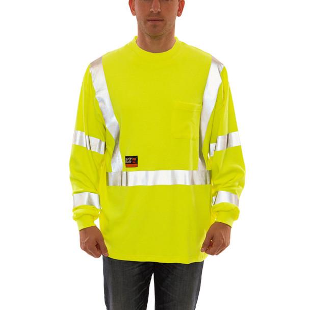 Tingley FR Class 3 Hi Vis Yellow Job Sight Long Sleeve T-Shirt S85522 Front