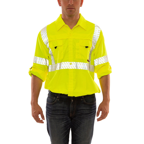 Tingley Class 3 Hi Vis Yellow Button Up Longsleeve Sportsman Job Sight Shirt with Segmented Tape S76522 Sleeves Up