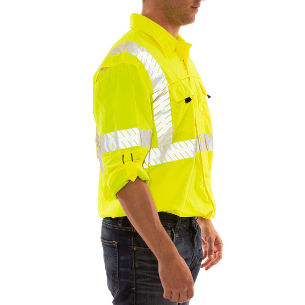 Tingley Class 3 Hi Vis Yellow Button Up Longsleeve Sportsman Job Sight Shirt with Segmented Tape S76522 Side