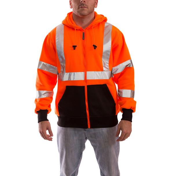 Tingley Class 3 Hi Vis Orange Black Bottom Job Sight Zip-Up Hoodie S78129 Front