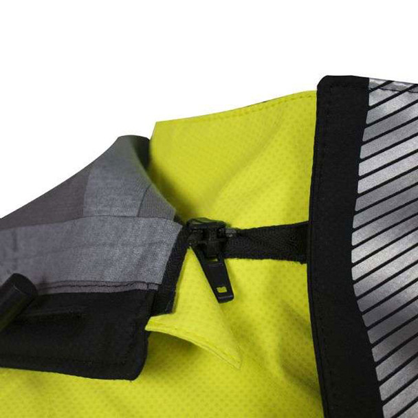 NSA FR Class 3 Hi Vis Yellow Hydrolite Storm Jacket with Segmented Tape HYDROJACK-YB Zip-Off Hood