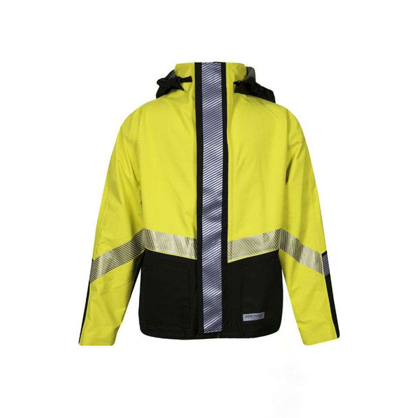 NSA FR Class 3 Hi Vis Yellow Hydrolite Made in USA Bomber Jacket with Segmented Tape HYDRO2BOM-YB Front