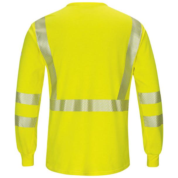 Bulwark FR Class 3 Hi Vis Yellow Long Sleeve T-Shirt with Segmented Tape SMK8HV Back