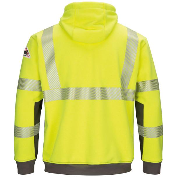 Bulwark FR Class 3 Hi Vis Yellow Gray Bottom Pullover Hooded Sweatshirt SMB4HG Back
